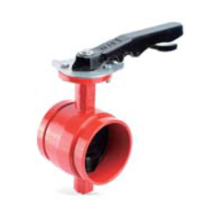 Butterfly valve with lever handle grooved end